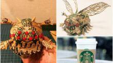 日本紙皮模型高手 Starbucks杯套製《風之谷》飛蟲