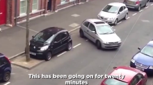 This absolutely terrible parking job video goes viral for all the right reasons