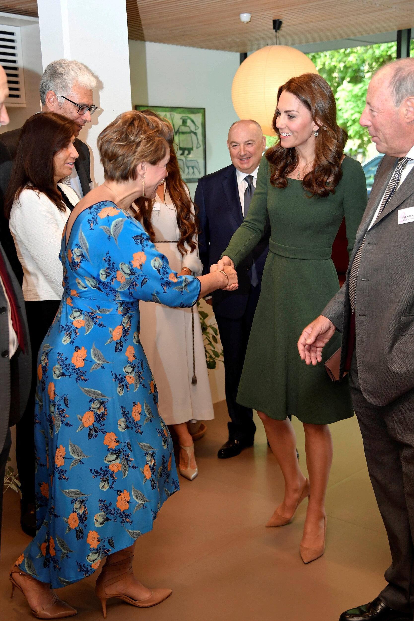 LONDON, ENGLAND - MAY 01:  Britain's Catherine, Duchess of Cambridge shakes hands with journalist Kate Silverton as she officially opens the new Centre of Excellence at the Anna Freud Centre on May 1, 2019 in London, England. The Duchess of Cambridge is Patron of the Anna Freud National Centre for Children and Families. (Photo by Toby Melville - WPA Pool/Getty Images)