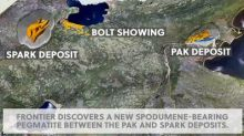"""Frontier discovers a new spodumene-bearing pegmatite """"Bolt"""" between the PAK and Spark deposits."""
