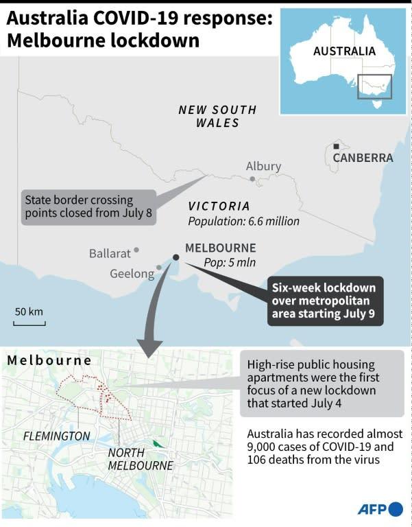 Map showing Melbourne, Australia where a new six-week lockdown began Thursday. (AFP Photo/)
