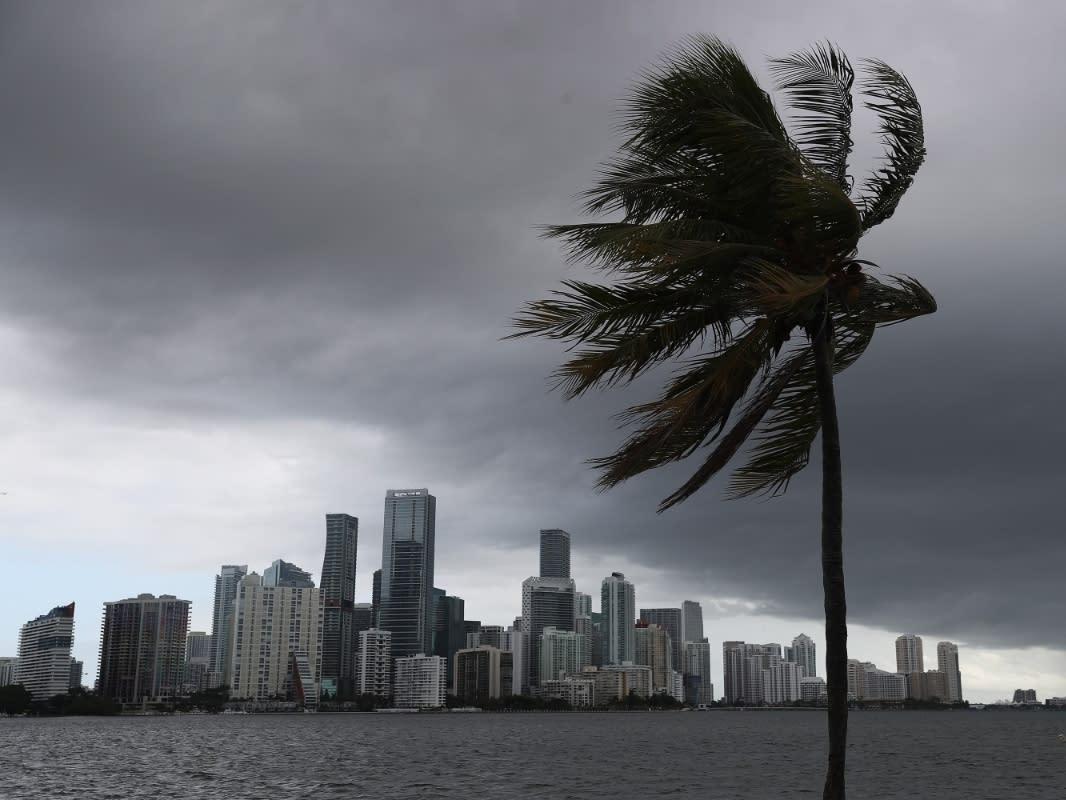 Skies darken over Miami as Hurricane Isaias approaches the Florida coast.