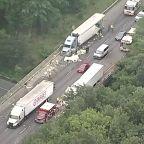 Massive backups after trucks crash on 495