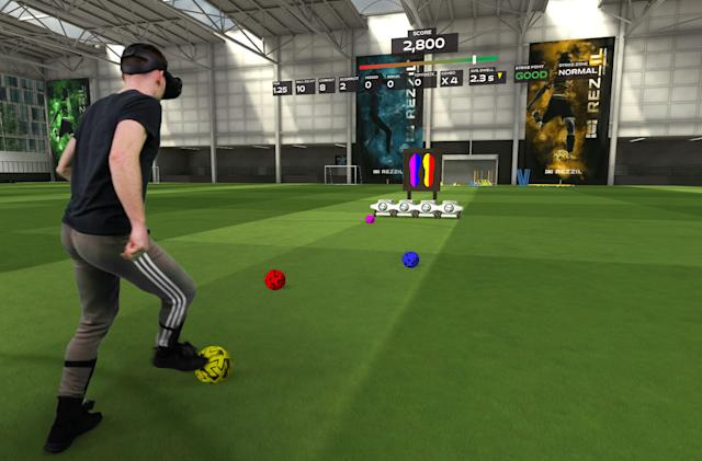 Soccer training in VR is quite a workout