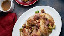 Roast pheasant, parsnip purée and brussels sprouts recipe