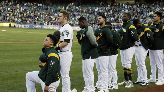 A's rookie is first MLB player to protest anthem