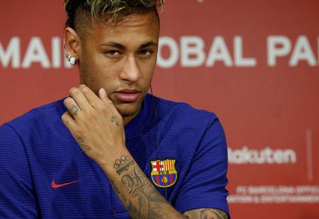 19698246a8e FC Barcelona player Neymar attends a news conference to announce the  sponsorship deal between the team