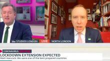 Piers Morgan and Matt Hancock in on-air row over government's response to coronavirus