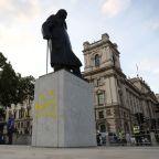 London statue of Churchill defaced again