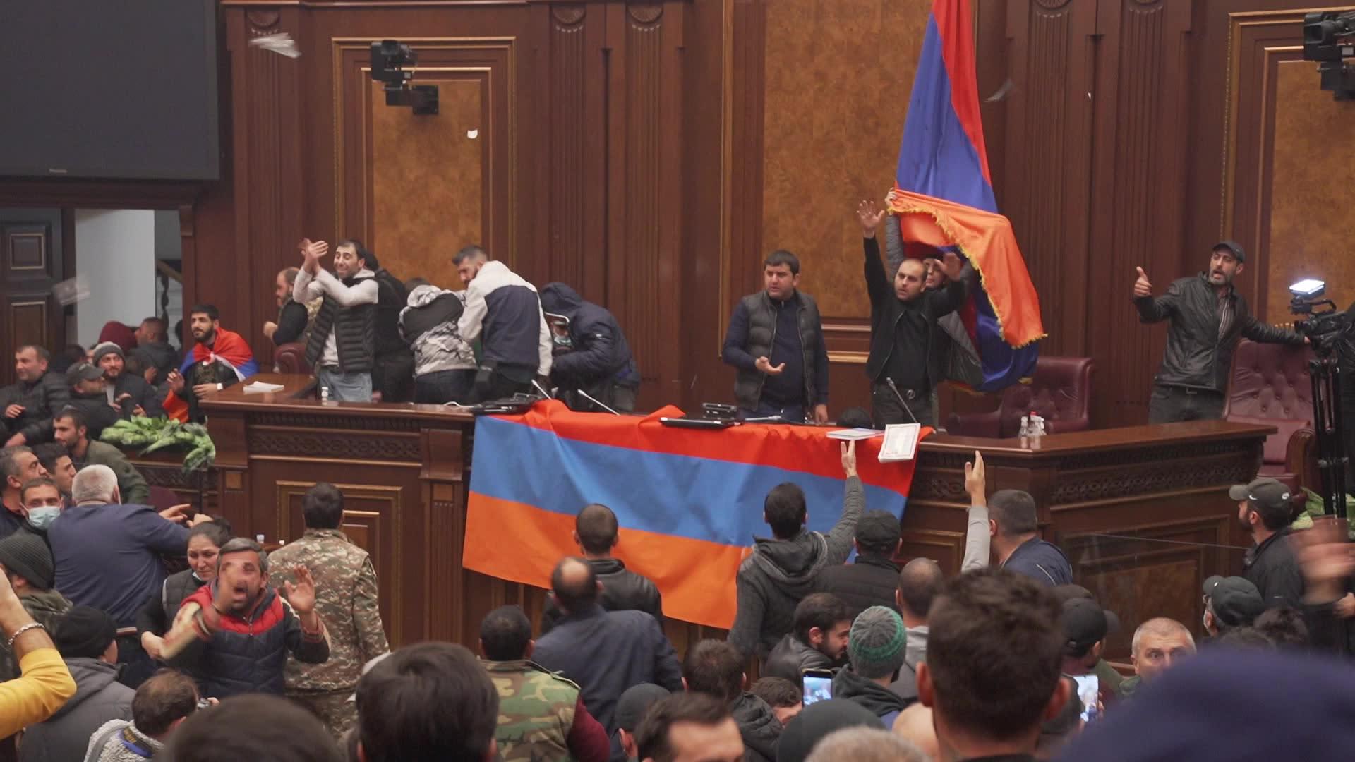 Chaos inside Armenia parliament as protesters denounce ceasefire