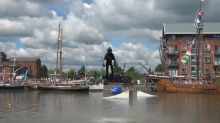 Real-life Iron Man flies jet-powered rocket suit around UK docks