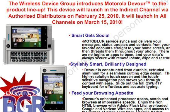 Motorola Devour launching somewhere on February 25th, everywhere on March 15th