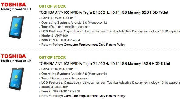 Toshiba's Honeycomb tablet to be dubbed ANT, start at $450?