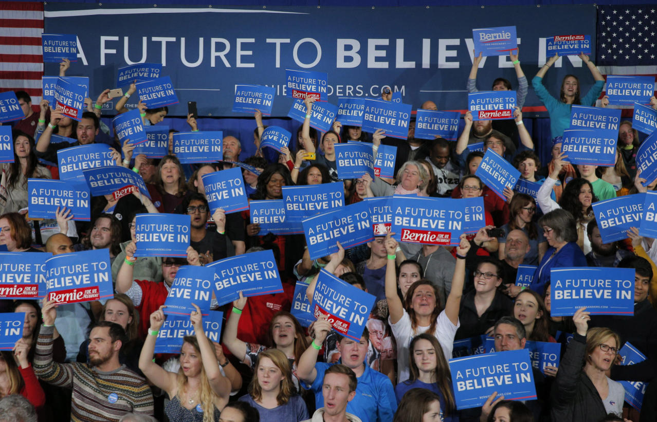 <p>Supporters of Democratic U.S. presidential candidate U.S. Sen. Bernie Sanders cheer at his Super Tuesday rally in Burlington, Vt. <i>(Photo: Brian Snyder/Reuters)</i></p>