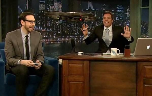 Josh invades Late Night studio with flying robot army of one (video)