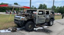 Hummer H2 burns to a crisp; now the owner won't need the hoarded gas