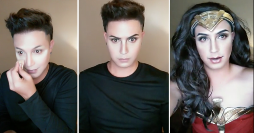 Paolo Ballesteros transform into wonder woman with makeup