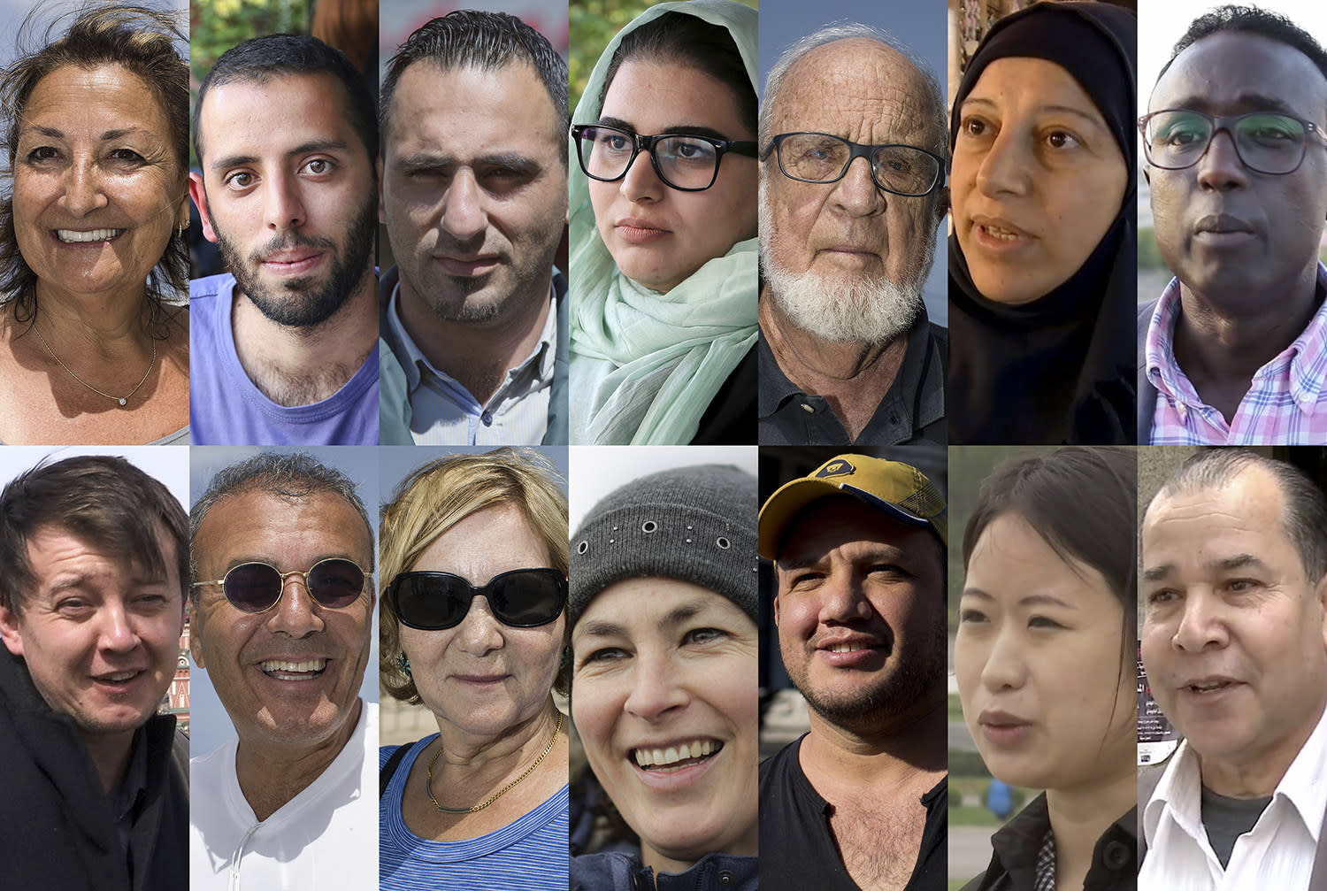 <p>This combination of images shows people interviewed by the Associated Press regarding President Donald Trump's first 100 days in office. Top row left to right: Diane Lallouz in Tel Aviv; Payam Mosleh in Tehran; Hamza Abu Maria in Ramallah; Shahrzad Ebrahimi in Tehran; Dan Mirkin in Tel Aviv; Fatmeh (full name not given) in Damascus; Mohamed Shire in Mogadishu. Bottom row left to right: Yuri (last name not given) in Moscow; Shimon Abitbol, in Tel Aviv; Raya Sauerbrun in Tel Aviv; Ute Hubner in Berlin; Juan Pablo Bolanos in Mexico City; Ra So Yon in Pyongyang; and Mohammad Ali in Damascus. (Photos: AP) </p>