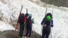 Mountaineers Witness Avalanche Up Close in Canada's Rocky Mountains