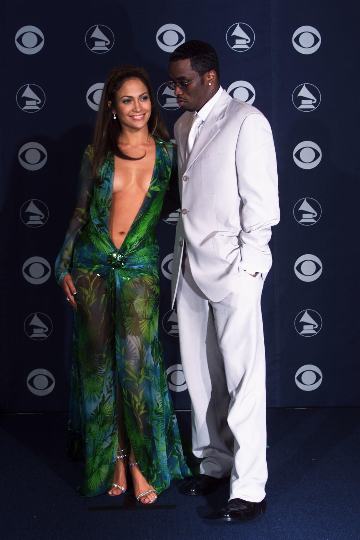 Jennifer Lopez in Versace and Puffy Daddy at the 42nd Grammy Awards held in Los Angeles, CA on Febuary 23, 2000  Photo by Scott Gries/ImageDirect
