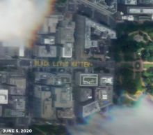 Black Lives Matter logo painted on streets near White House seen from space
