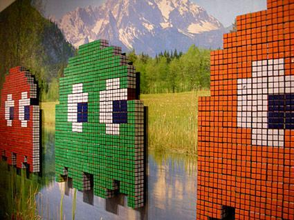 Pac-Man and Rubik's Cubes make a marriage of artistic genius