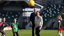 Kate and William get competitive during football match in Northern Ireland