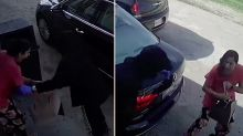 Shocking footage of thieves running woman over with car to get handbag