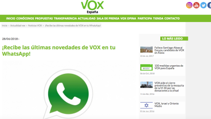 Vox usa WhatsApp como propaganda electoral