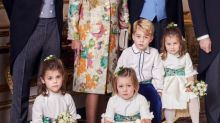 What is Mia Tindall holding in the official royal wedding photo?