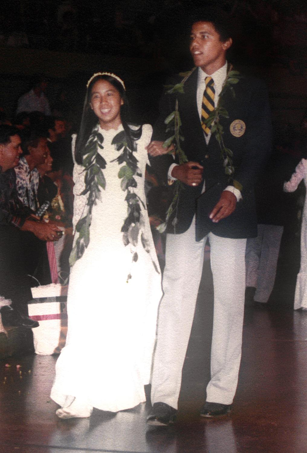 <p>In 1979, a young Barack Obama escorted a classmate during the graduation ceremony at Punahou School in Honolulu, Hawaii. </p>