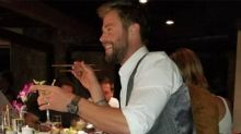 Chris Hemsworth ditches shoes at fancy restaurant