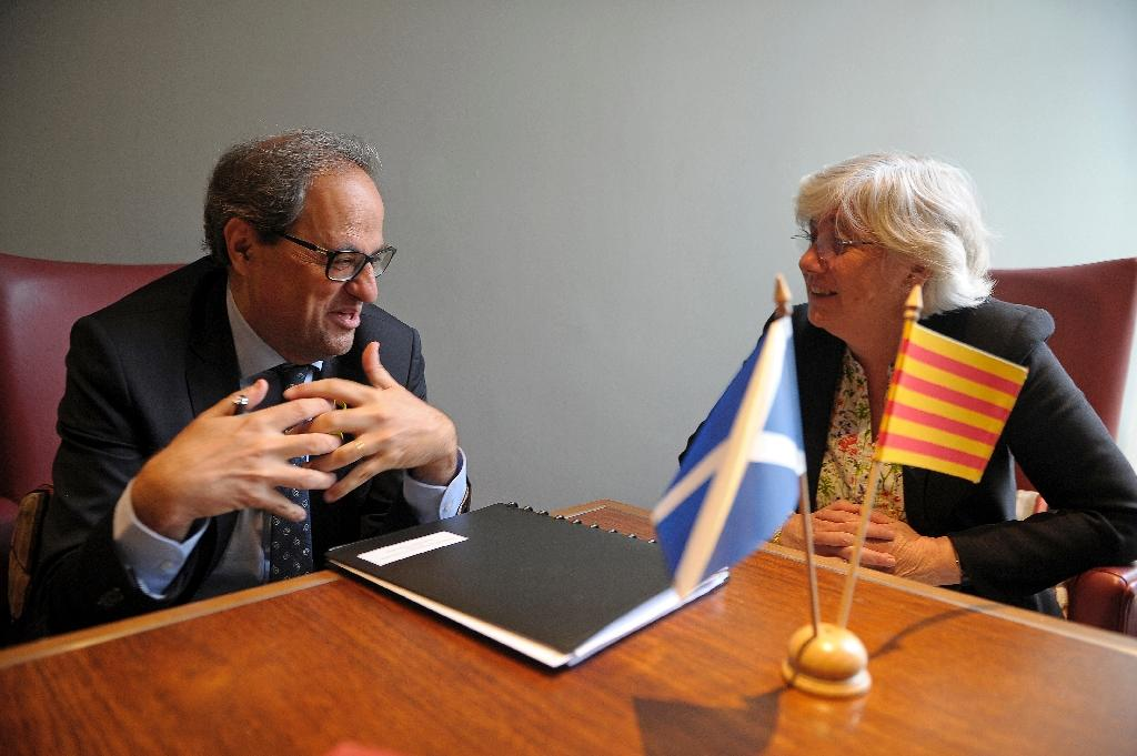 Catalan President Quim Torra (L) met Wednesday with former regional minister Clara Ponsati, who is fighting an extradition request by Spain (AFP Photo/ANDY BUCHANAN)