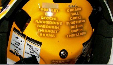 Photo of Marc-Andre Fleury's helmet from NBC's broadcast.