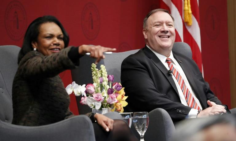 Former US Secretary of State Condoleezza Rice and incumbent Mike Pompeo answer questions during an event hosted by the Hoover Institution at Stanford University