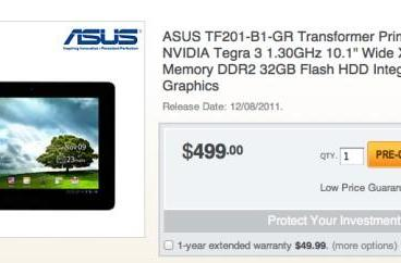 ASUS Transformer Prime pre-order page points to December 8th release date