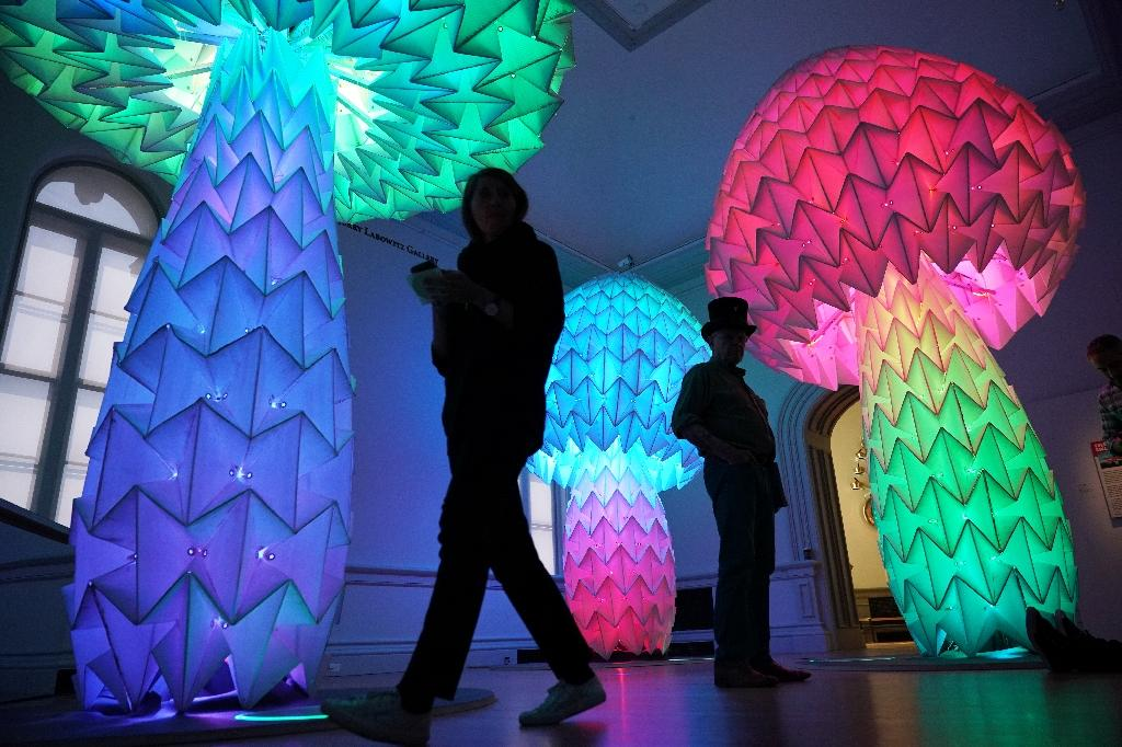 """""""Shrumen Lumen"""" by the Foldhaus Collective is an interactive installation featured in Washington's Renwick Gallery """"Burning Man"""" exhibition (AFP Photo/Mandel NGAN)"""