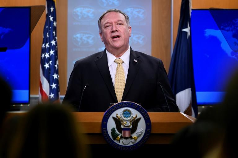 Secretary of State Mike Pompeo announces the US change of policy on Israeli settlements which breaks with decades of international consensus (AFP Photo/JIM WATSON)