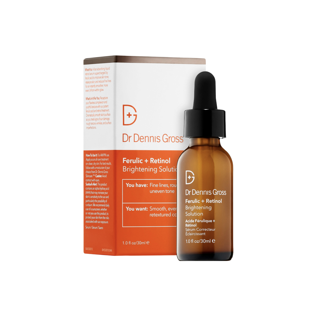"""<p><strong>Dr. Dennis Gross Skincare</strong></p><p>sephora.com</p><p><strong>$88.00</strong></p><p><a href=""""https://go.redirectingat.com?id=74968X1596630&url=https%3A%2F%2Fwww.sephora.com%2Fproduct%2Fferulic-acid-retinol-brightening-solution-P375269&sref=http%3A%2F%2Fwww.oprahmag.com%2Fbeauty%2Fg28661550%2Fbest-retinol-serums%2F"""" rel=""""nofollow noopener"""" target=""""_blank"""" data-ylk=""""slk:SHOP NOW"""" class=""""link rapid-noclick-resp"""">SHOP NOW</a></p><p>This multipurpose product contains a number of anti-aging ingredients that work together to minimize the appearance of fine lines, skin discoloration, and stimulate new collagen growth over time, says Shainhouse. Hyaluronic acid hydrates, ferrulic acid helps reduce free radical damage, alpha-hydroxyacids gently exfoliate, and retinol stimulates new collagen growth. </p>"""
