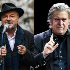 Steve Bannon and George Galloway 'hug' in Kazakhstan after learning Theresa May has resigned