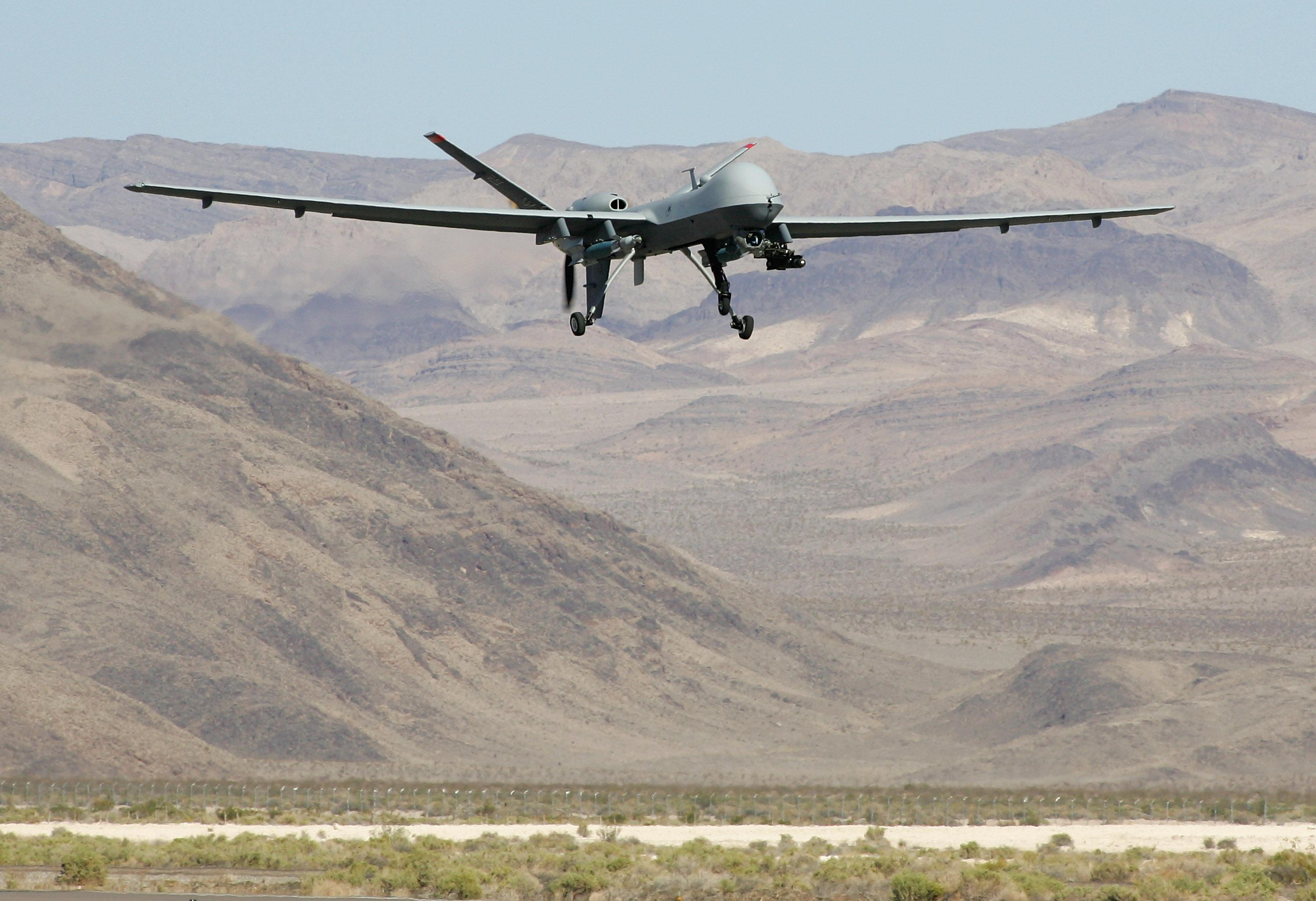 An MQ-9 Reaper is seen on August 8, 2007, in Indian Springs, Nevada