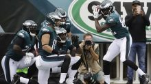 Going, going, gone: Eagles' Torrey Smith celebrates touchdown with a home run