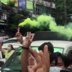 Flash protest in Yangon supports anti-junta militia