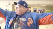 New York Mets fan loses it after missing first pitch due to transit delays