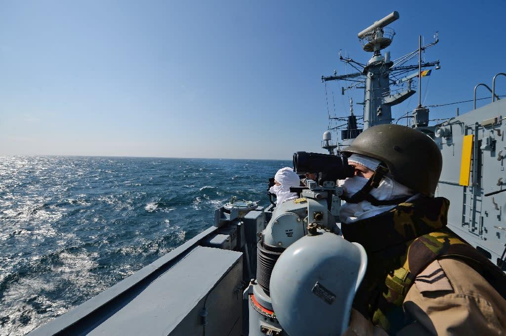 Romanian military personnel take part in a NATO drill on the Black Sea in March 2015