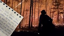 'Sorry': Heroic firefighter's 'touching' note after saving home