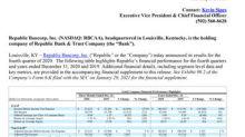 Republic Bancorp, Inc. Reports Fourth Quarter Net Income of $20.3 Million