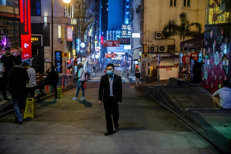 Hong Kong's Lan Kwai Fong district was quiet over the weekend but has been busy in recent weeks (AFP Photo/ISAAC LAWRENCE)