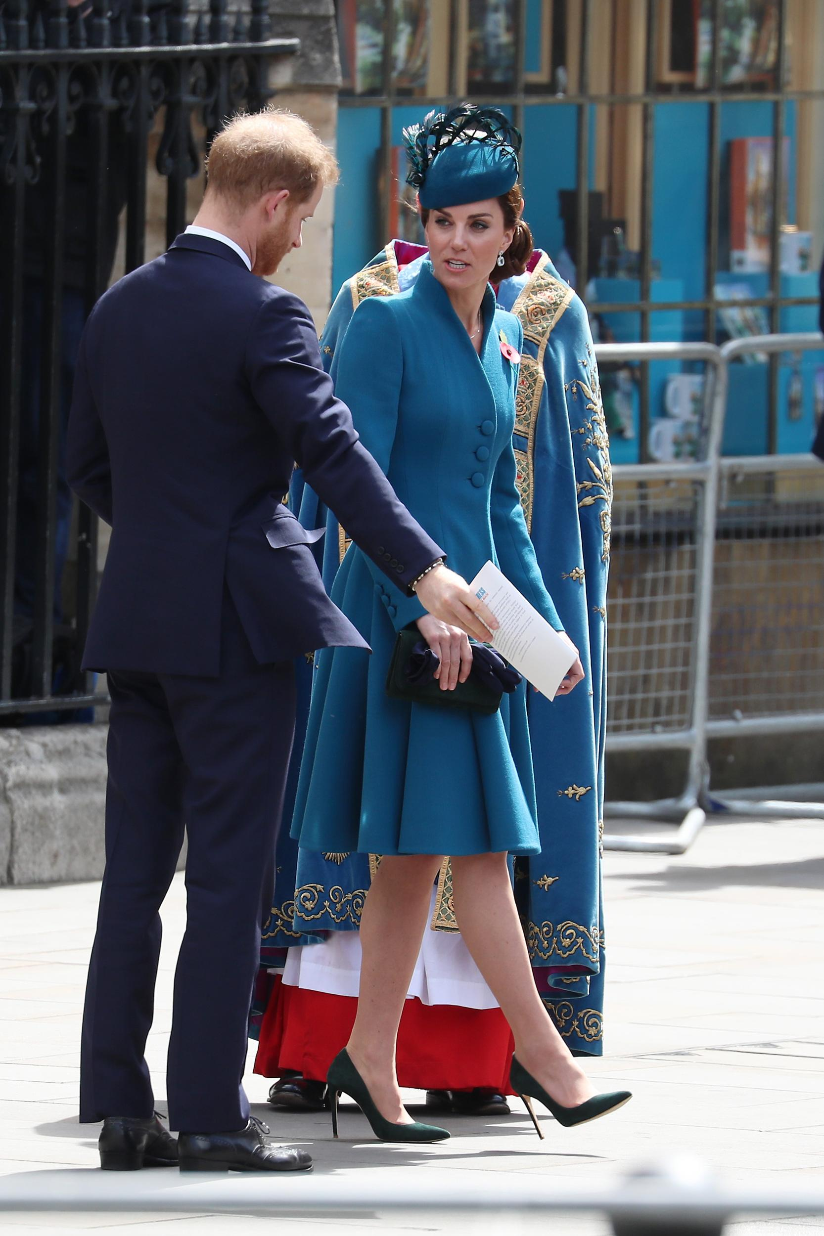 LONDON, ENGLAND - APRIL 25:  Catherine, Duchess of Cambridge and Prince Harry, Duke of Sussex depart the Anzac Day Service at Westminster Abbey on April 25, 2019 in London, England. (Photo by Neil Mockford/GC Images)