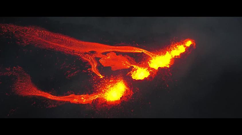Boiling lava gushes out from erupting volcano on Reunion